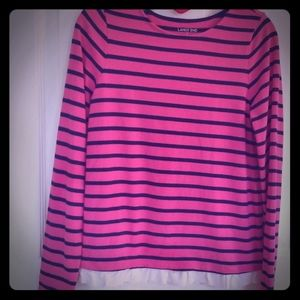 Lands End pink/ navy striped long sleeve w/ ruffle